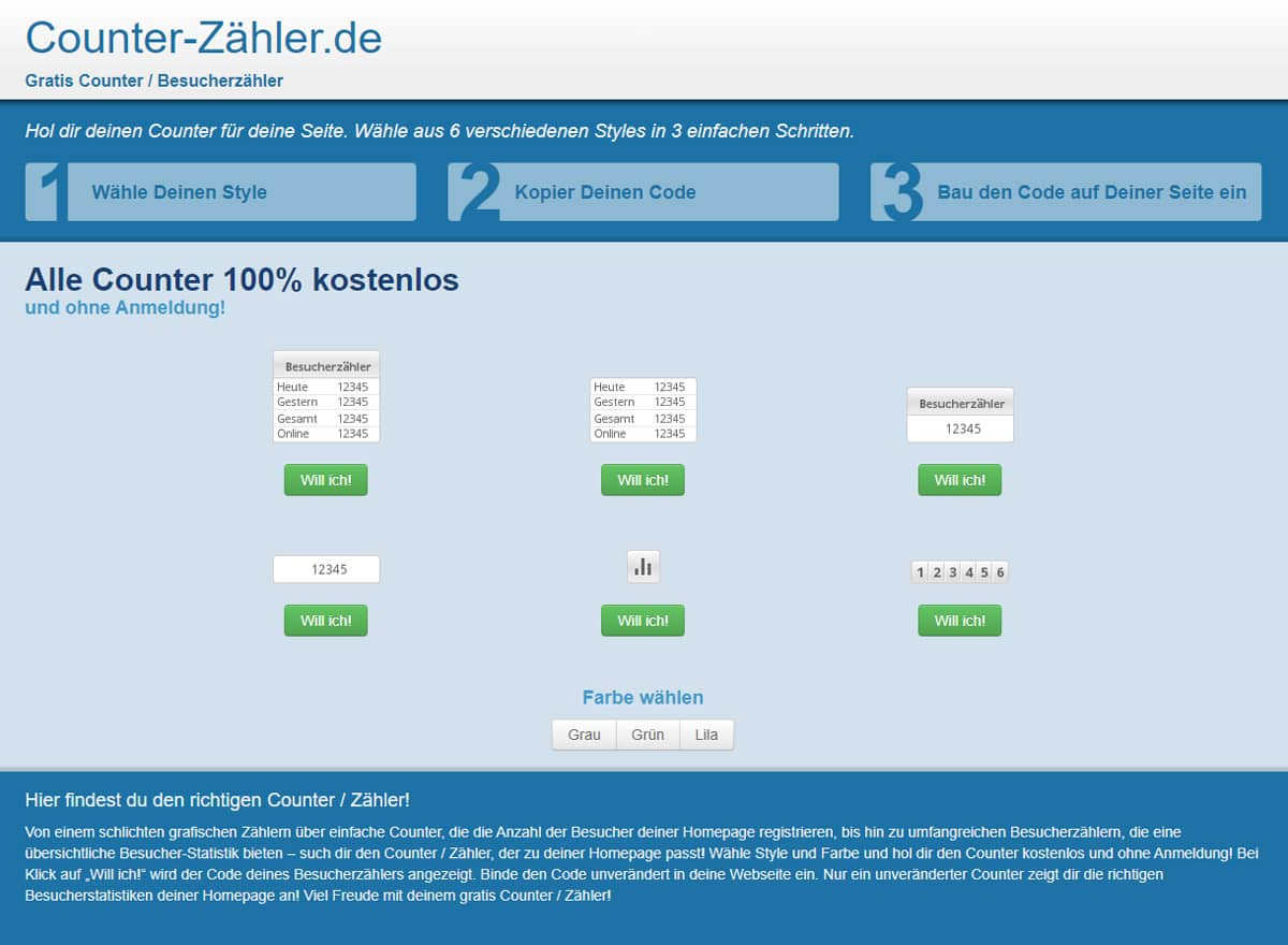 Counter Zähler Gratis Counter