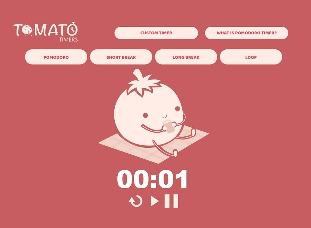 Der Pomodoro Timer von Tomato Timers