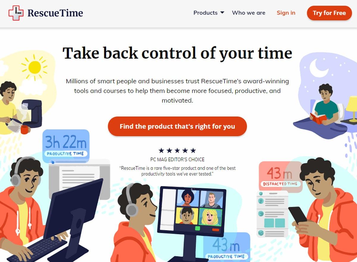 RescueTime Produktivitäts Timer und Zeiterfassung