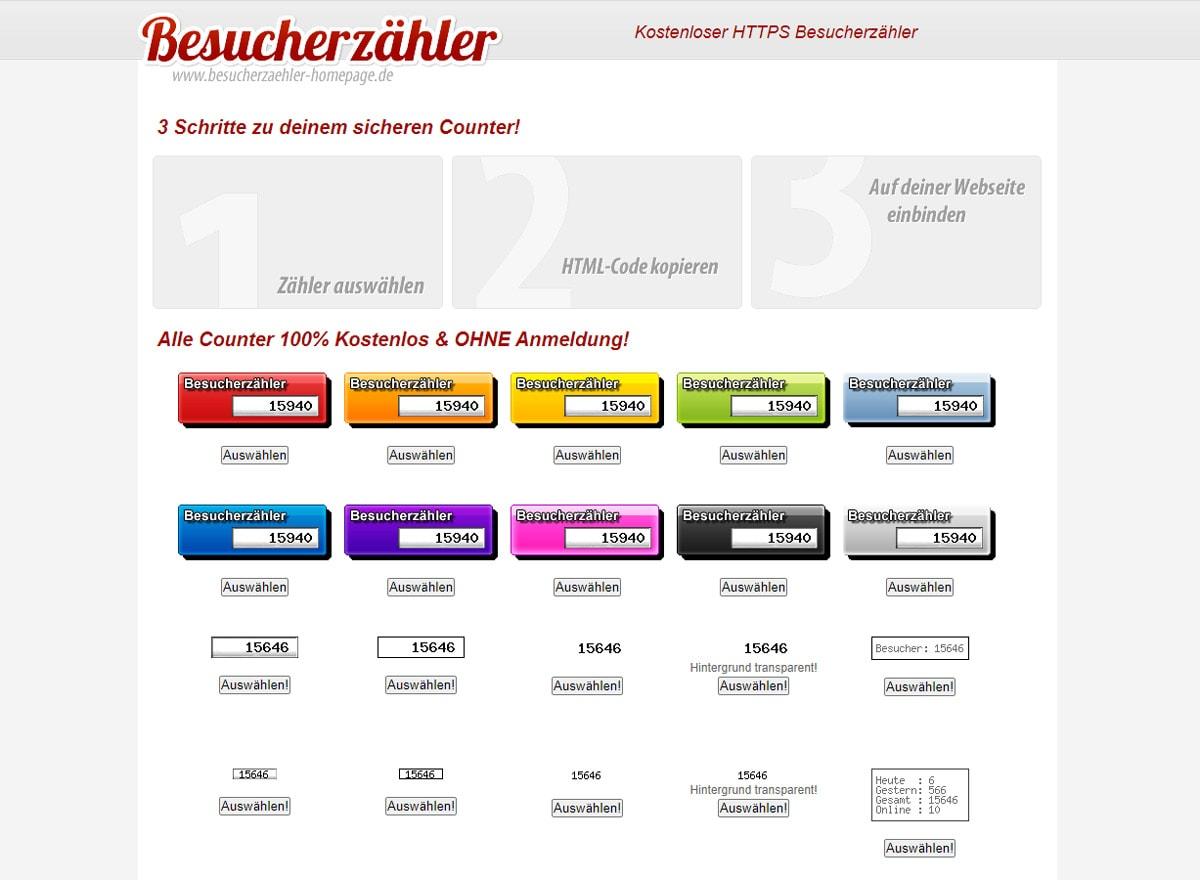 Besucherzähler für Homepage